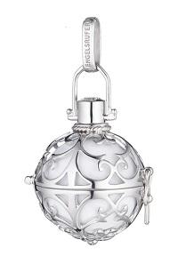 Llamador de ángeles de plata con bola blanca