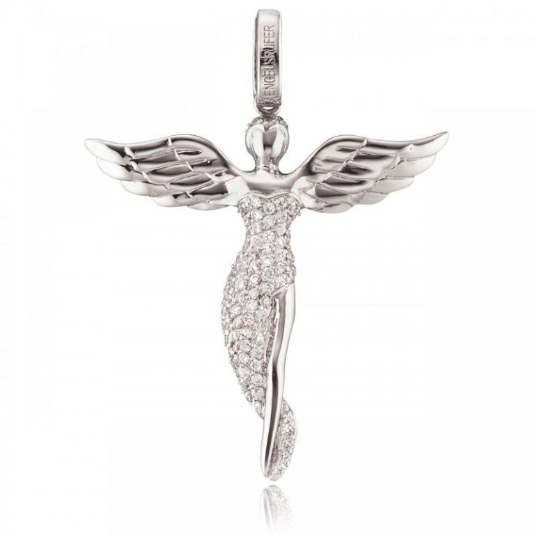 Colgante ángel cristales plata